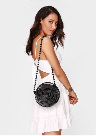 Solid Beading Round Bamboo Bag