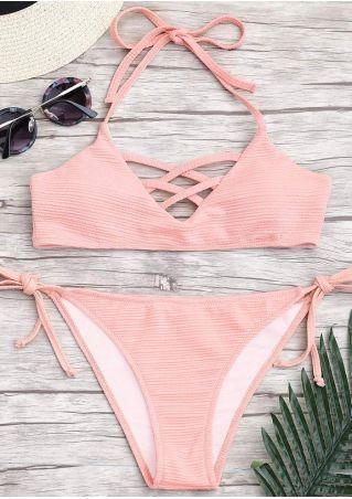 Solid Tie Criss-Cross Bikini Set