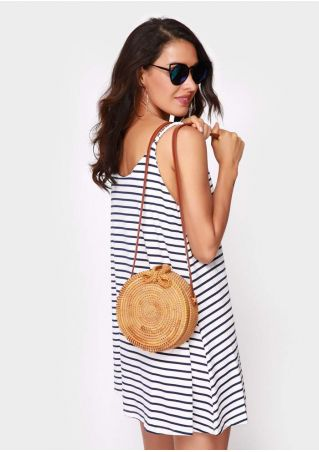 PU Strap Round Rattan Shoulder Bag