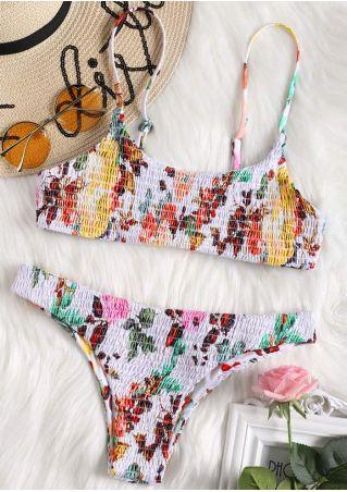 Floral Adjustable Strap Bikini Set