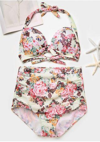 Floral Tie High Waist Bikini Set