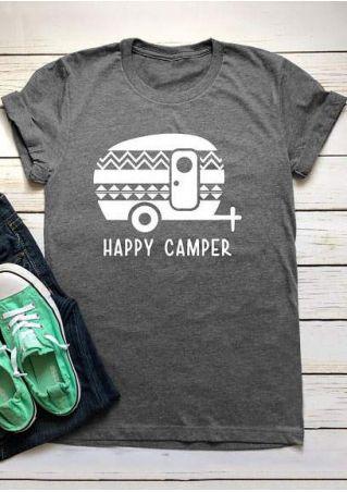Happy Camper Car Short Sleeve T-Shirt