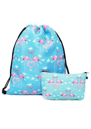 Flamingo Drawstring Backpack and Cosmetic Bag Set