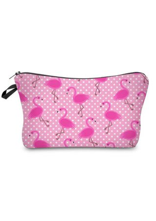 Flamingo Polka Dot Cosmetic Bag