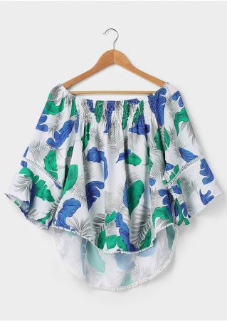 Leaf Pompon Off Shoulder Blouse