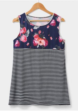 Floral Striped Lace Splicing Tank