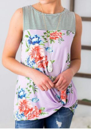 Floral Striped Tank without Necklace