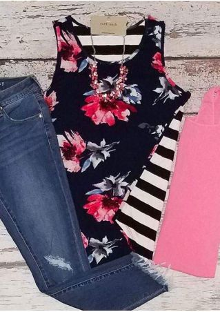 Floral Printed Striped O-Neck Tank