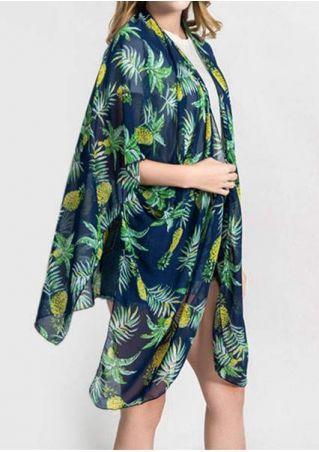 Pineapple Slit Batwing Sleeve Cardigan