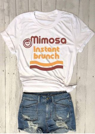 Mimosa Instant Brunch Smiling Face T-Shirt