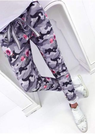 Floral Camouflage Printed Sequined Drawstring Pants
