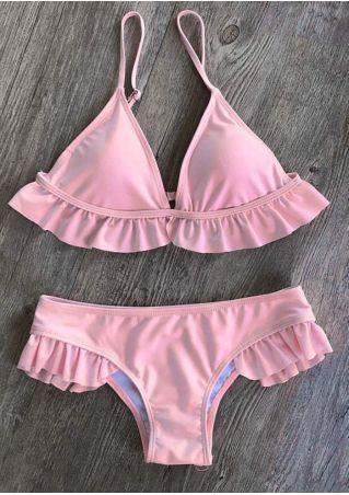 Solid Ruffled Adjustable Strap Bikini Set