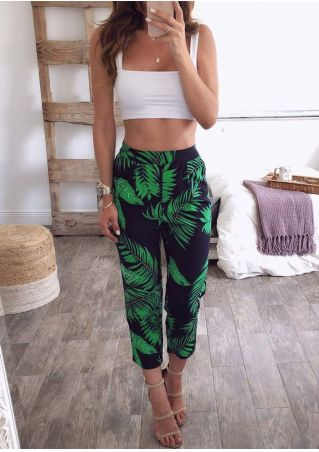 Solid Tank and Leaf Pants Set without Necklace