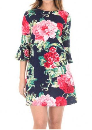 Floral Printed Flare Sleeve Mini Dress