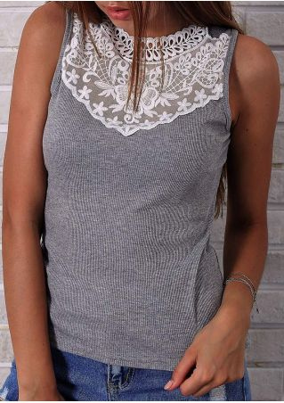 Knitted Lace Floral O-Neck Tank