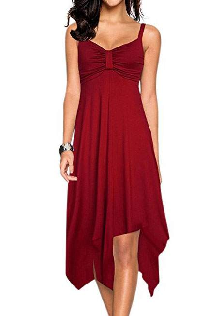 Solid Asymmetric Ruched Casual Dress 46357