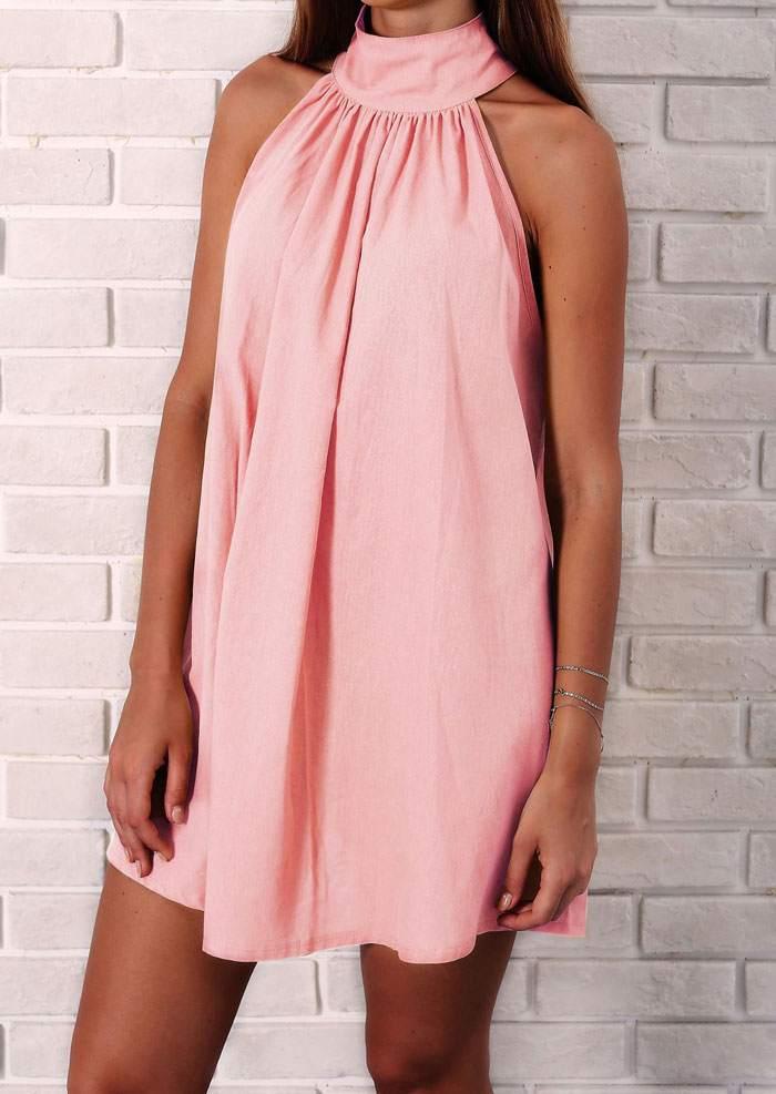 Solid Beading Sleeveless Mini Dress 46365