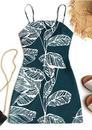 Leaf Spaghetti Strap Cut Out Mini Dress