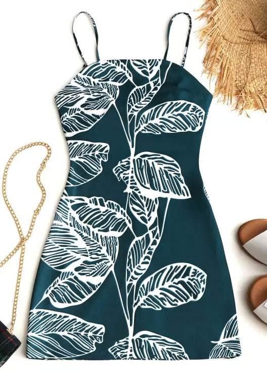 Leaf Spaghetti Strap Cut Out Mini Dress 46358