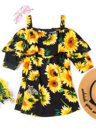 Sunflower Flouncing Cold Shoulder Blouse