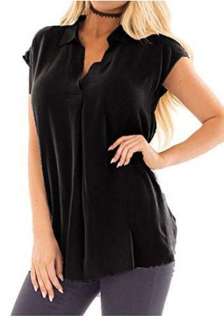 Solid Turn-Down Collar Blouse without Necklace