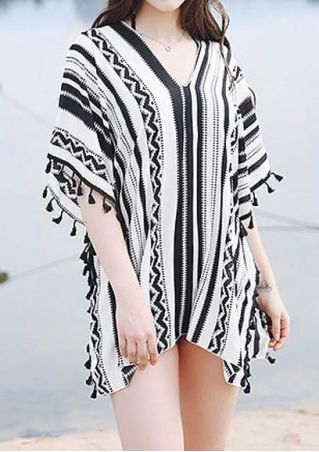 Striped Tassel Splicing Cover Up