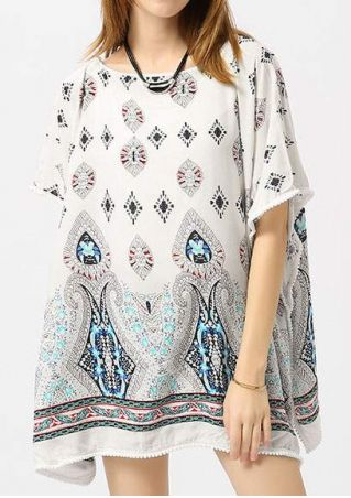 Printed Slit Pompon Cover Up without Necklace