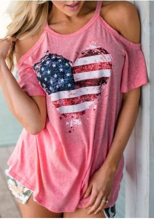 American Flag Cold Shoulder Blouse