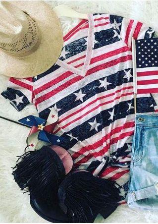 American Flag V-Neck Short Sleeve T-Shirt