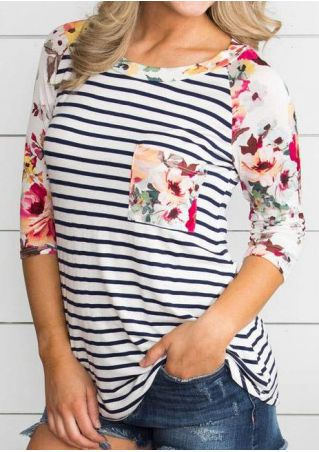Striped Floral Pocket Baseball T-shirt