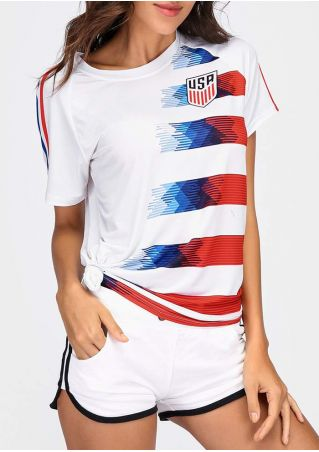 Striped Detail USA Football Team T-Shirt