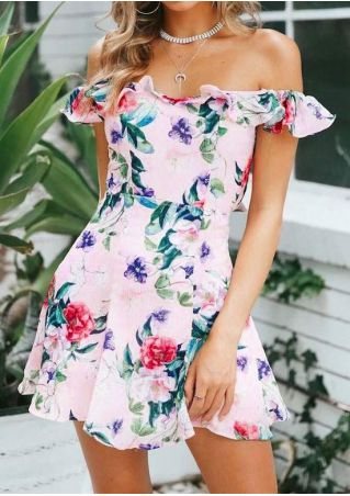 Floral Flouncing Off Shoulder Mini Dress without Necklace