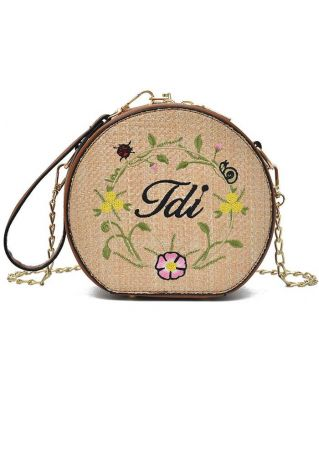Floral Embroidery Chain Straw Crossbody Bag