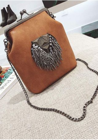 Kisslock Iron Fringe Chain Crossbody Bag