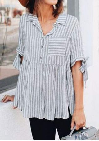 Striped Ruffled Tie Turn-down Collar Blouse