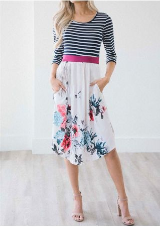 Striped Floral Splicing Pocket Casual Dress