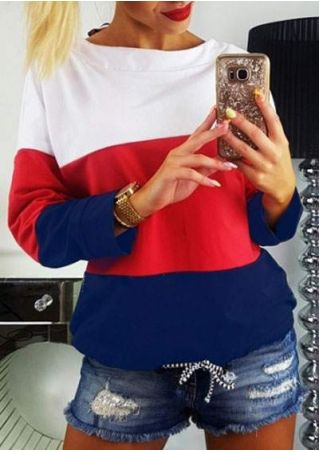 Striped Drawstring Long Sleeve Sweatshirt