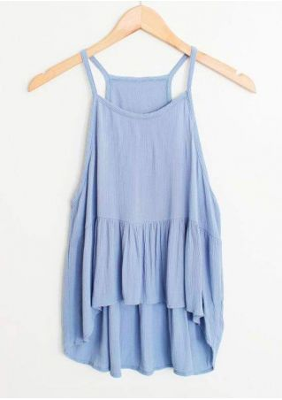Solid Ruffled Asymmetric Camisole