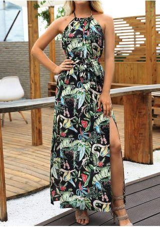 Floral Slit Backless Halter Maxi Dress