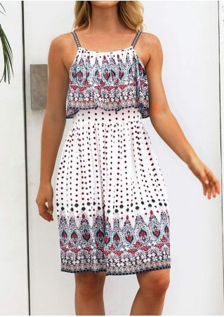 Printed Layered Spaghetti Strap Mini Dress