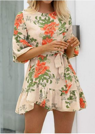 Floral Ruffled Flare Sleeve Mini Dress