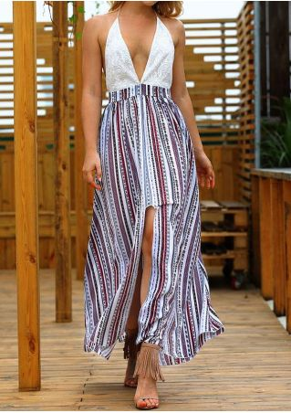 Printed Asymmetric Backless Halter Maxi Dress
