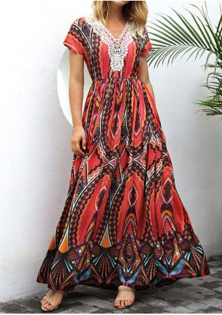 Printed Lace Splicing V-Neck Maxi Dress