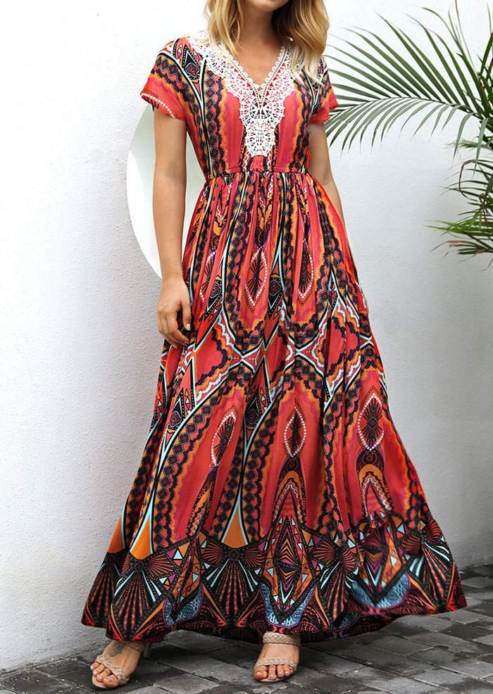 Printed Lace Splicing V-Neck Maxi Dress