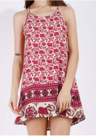 Floral Elephant Spaghetti Strap Mini Dress