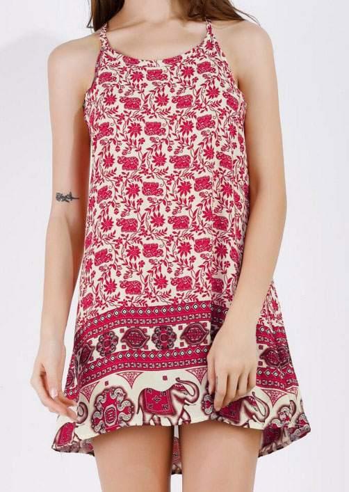 Floral Elephant Spaghetti Strap Mini Dress 46393