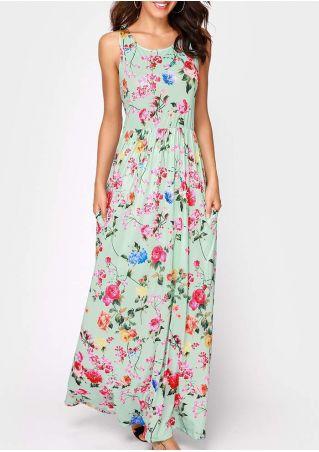 Floral Pocket Sleeveless Casual Maxi Dress