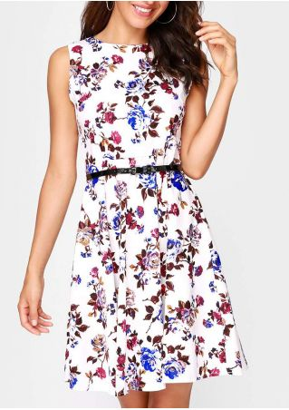 Floral Casual Dress with Belt