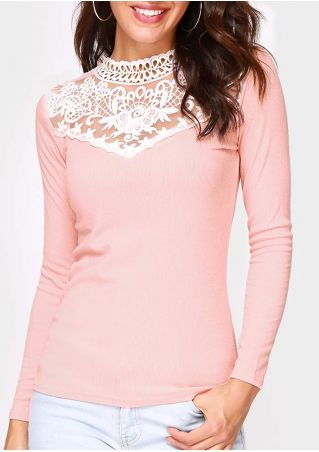 Lace Floral Splicing O-Neck Blouse