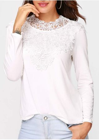 Solid Lace Splicing O-Neck Blouse